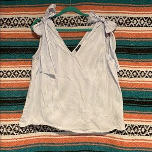 Striped Sleeveless Blouse with Bows